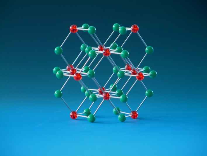 Molecular model of Calcium fluoride, fluorite, used for teaching