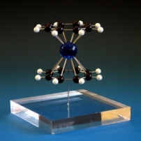 A model of cerocene organometallic compound molecule on a clear acrylic base
