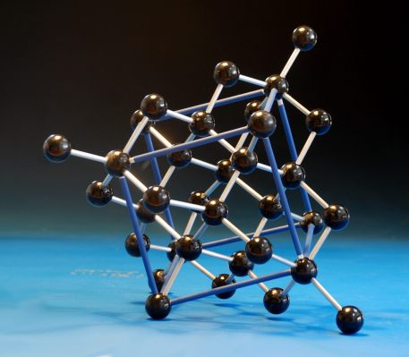 Large crystal structure model of diamond made with 20mm  wooden balls